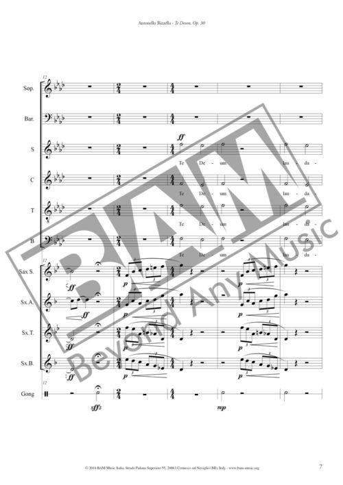 Antonello Rizzella Te Deum Score