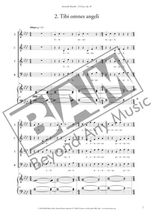 Antonello Rizzella Te Deum Piano Reduction Score